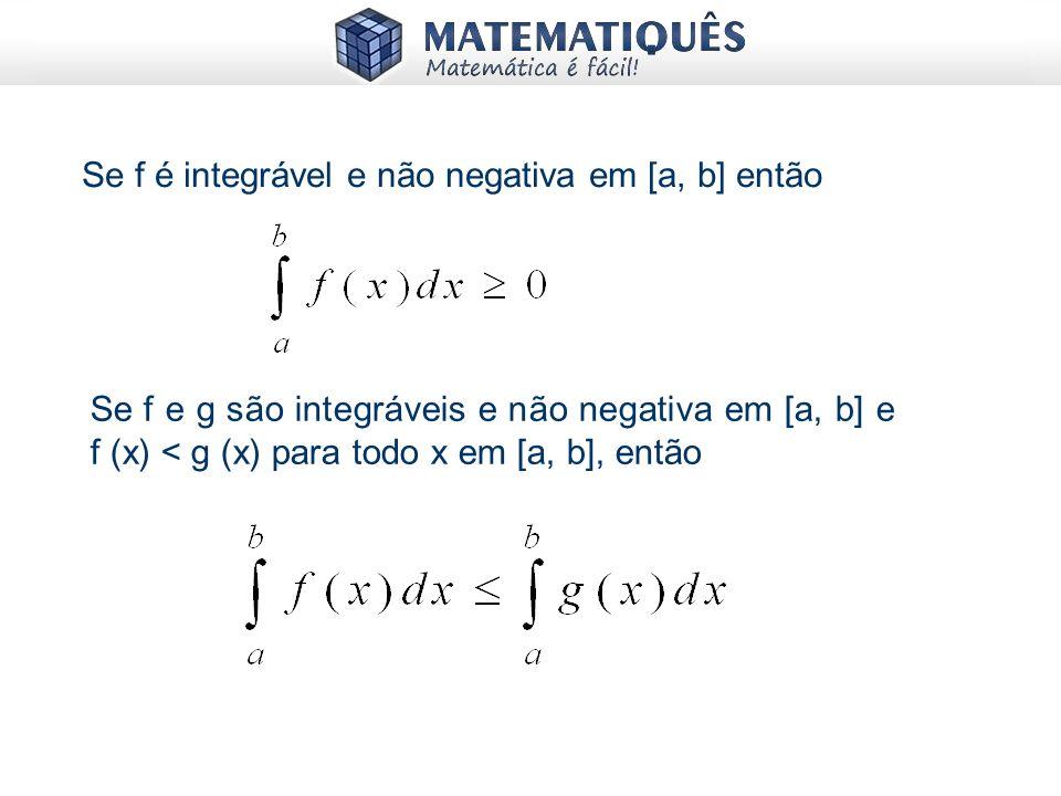 Se f é integrável e não negativa em [a, b] então